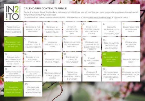 Calendario dei contenuti Aprile - Intuito Marketing - Consulenza Marketing - Trentino e Cortina d'Ampezzo