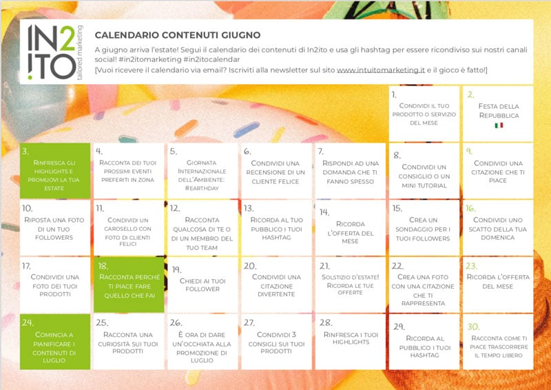 Calendario dei Contenuti di Giugno by In2ito Marketing